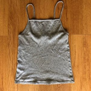 Forever 21 Ribbed High Neck Cropped Tank Top Gray M